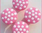 Pink Polka Dot Knobs • Bubblegum Pink • White • Drawer Pulls • Drawer Knobs • Dresser Knobs • Baby Nursery