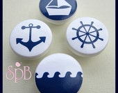 Nautical Knobs • Anchor • Sailboat Drawer Knobs • Helm • Waves • Dresser Knobs • Nursery Decor • Drawer Pulls