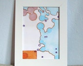 Abstract Figurative Circles Face Map Pink Blue Orange with Block Print 5 x 7 Digital Art Print