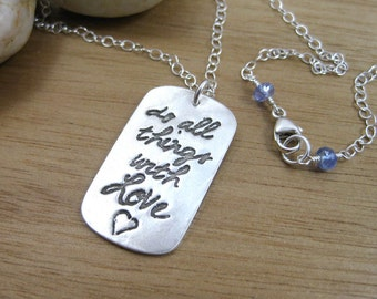 Recycled Silver Necklace Inspirational Jewelry Eco Friendly Jewelry Sterling Silver Dog Tag Necklace Graduation Gift - All Things With Love