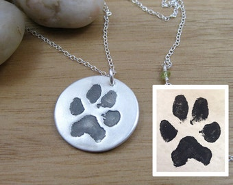 Custom Paw Print Necklace Pet Remembrance Jewelry Paw Print Jewelry Eco Friendly Keepsake Necklace Dog Jewelry Cat Jewelry Pet Jewelry