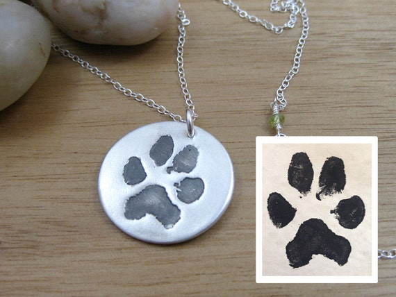 custom paw print necklace pet remembrance jewelry paw print
