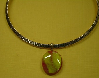 Dichroic Glass Necklace - Unique Reddish-Yellow Handcrafted Glass Cabochon on Gold NeckRing