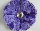 SALE Purple Fabric Flower Clippie - No Slip Hair Bow Clip