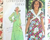 Vintage 1970s Womens Dress Pattern in Floor or Mini Length - Simplicity 5430
