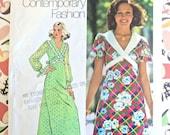 Vintage 1970s Womens Dress Pattern in Floor or Mini Length - Simplicity 5430