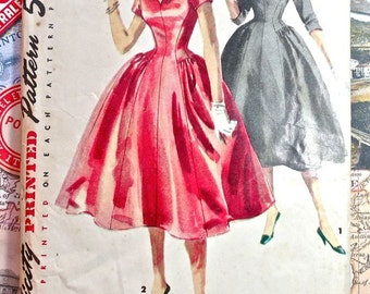 Simplicity 4893 - Vintage 1950s Womens Dress Pattern with Full Skirt and Detachable Collar