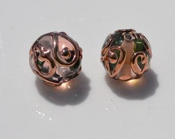 Peach and Rose Gold Czech Lampwork Beads  2