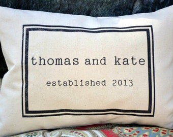 Personalized  pillow couples pillow wedding pillow - 2nd anniversary gift - cotton anniversary, wedding date, Valentine idea -tom & kate