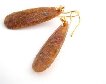 Spotted Jasper Dangle Earrings, Teardrop, Gold, Golden Brown, Rust Brown, Green, Drop Earrings