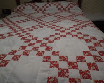 Red and White Irish Chain quilt top