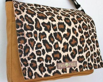 Tan CHEETAH Animal MESSENGER Book Laptop iPAD Diaper BAG