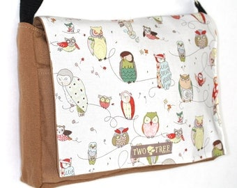 Tan Wise OWL MESSENGER Book Laptop Diaper BAG