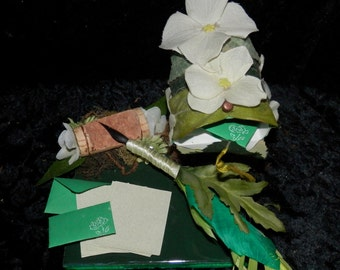 VERDANT Green FAIRY Mail QUILL Desk Set with Miniature Stationary
