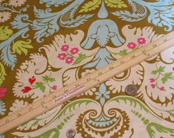 Beautiful Amy Butler Rowan Quality Fabrics Belle Collection Acanthus Olive Blue 1 One Yard 100% Fashion Cotton Quilting Sewing