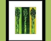 Kitchen Art Green Asparagus Vegetable Painting