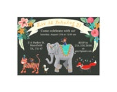 Customized Birthday Invitation Printable - Floral Animal Parade Themed Invite