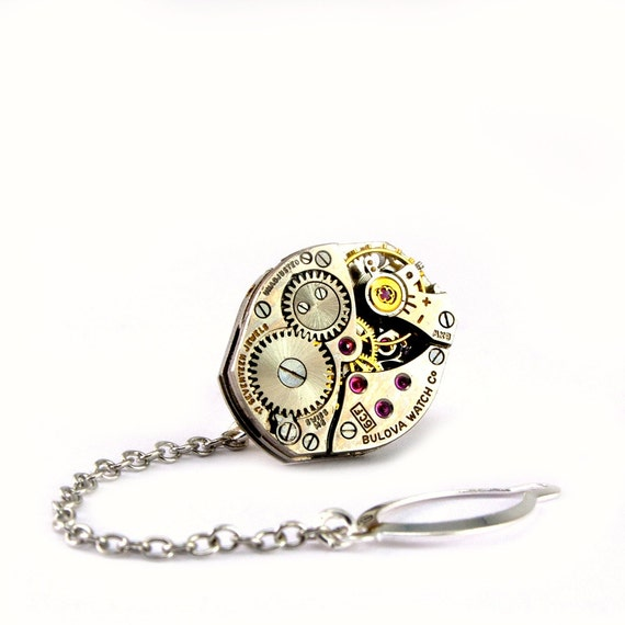 Steampunk Tie Tack - Handsome Mens Tie Pin - Vintage Bulova Clockwork Tie Tac - Steampunk Jewelry PROMPTLY SHIPPED By London Particulars