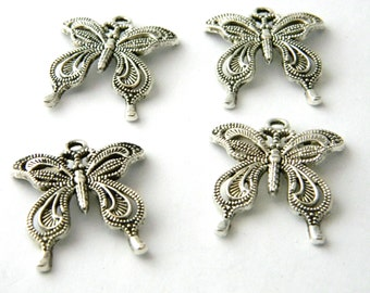 Butterfly Charms Set of 4 Silver Color 27x24mm