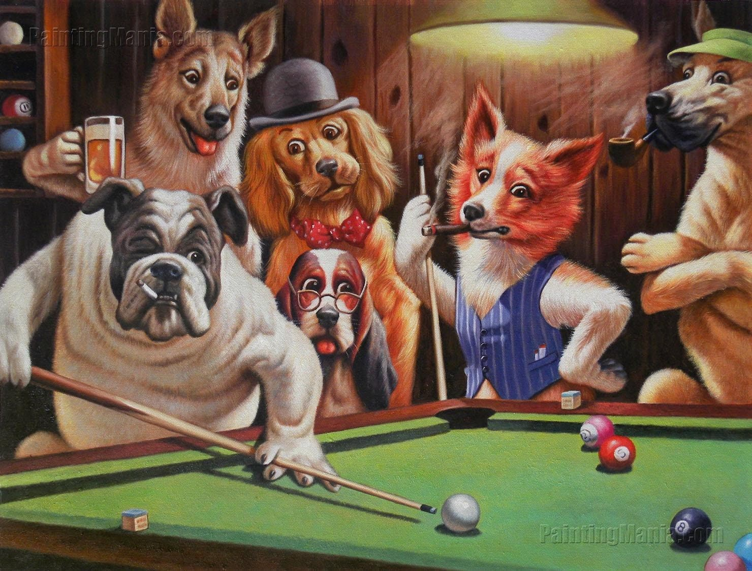 Dogs playing pool painting