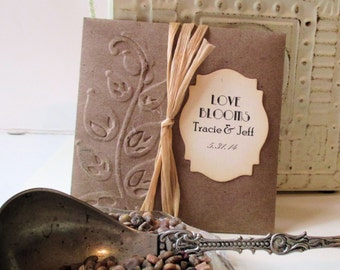 Rustic Wedding Favors - Wildflower Seeds - Personalized - Hand Embossed Packets - Love Blooms - Set of 10