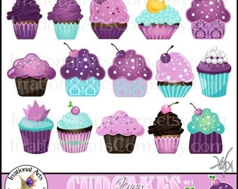 INSTANT DOWNLOaD Jenny CUPCAKES set 1 with 12 Digital Graphics Clip Art png files