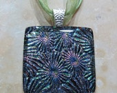 Fused Glass Pendant with ribbon necklace: Explosively Cool
