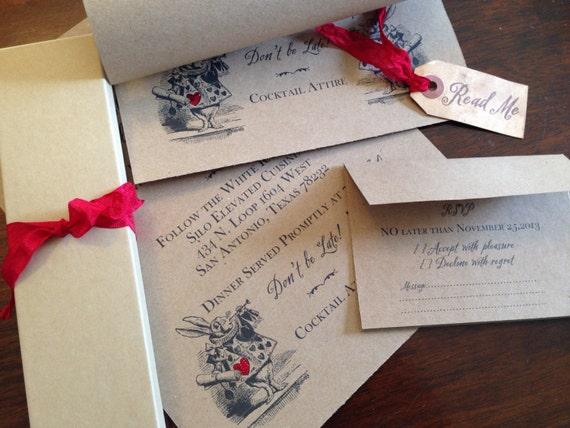 Exceptional Alice In Wonderland WEDDING INVITATION   Scroll Wedding Invitation    Moss Lined Presentation Box