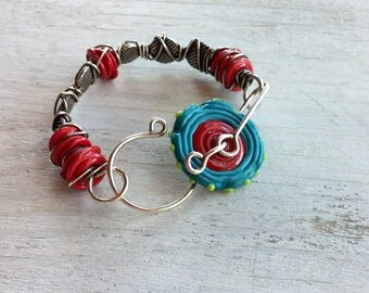 Opposites Attract - Turquoise and Crimson Silver and Glass Bangle
