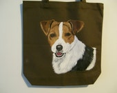 Reuseable  Canvas tote with a Jack Russell Terrier Dog