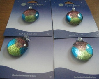 Blue Moon Dichroic Glass Round Pendant 29mm Copper Teal and Neon Green