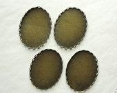 Antiqued Brass lace edge  cabochon oval settings, 30x40mm, 4 pcs SET227