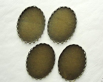 Antiqued Brass lace edge  cabochon oval settings, 30x40mm, 4 pcs SET227