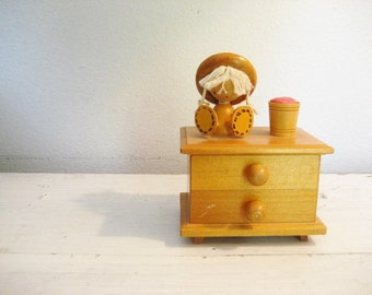 Vintage Wooden Trinket Small Jewelry Music Box with Pin Cushion- Made in Japan