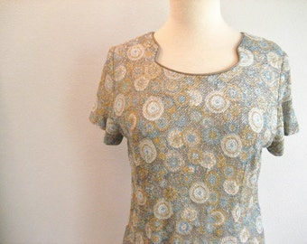 Vintage Cocktail Dress with Gold and Silver Metallic Circle Design- Size M-L
