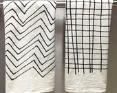 CHEVRON  or PLAID Tea Towel - Screen Printed Organic Cotton Flour Sack Towel - Soft and Absorbent Dish Towel