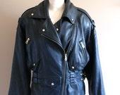 Black Leather Rocker Jacket with Diagonal Zipper.