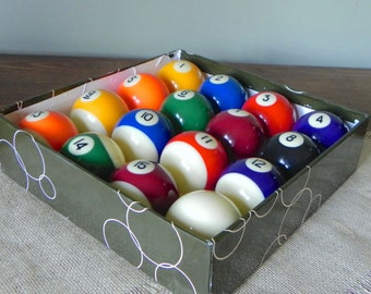 Vintage pool billiard balls - stripes and solid colorful numbered full set of 16