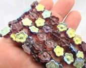 purple glass flower beads supplies jewelry making