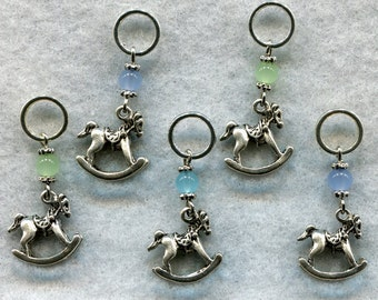 Rocking Horse Knitting Stitch Markers PhatFiber Horse of A Different Color Theme Set of 5 /SM115