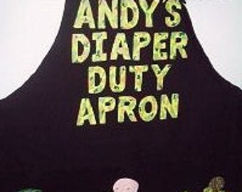Camo New Dad Diaper Apron, Personalized Novelty Dad To Be Apron, Fill It Yourself Apron With Funny Diaper Tools