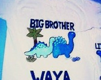 Big Brother Shirt, Blue Dinosaur Big Brother Shirt, Sibling Shirt, Big Little Brother Shirt, Personalized Big Brother Tee