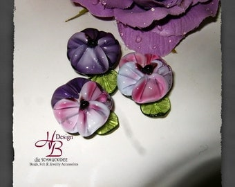 3 Pansy, Lampwork, SRA, Beads, Flower, pink, purple