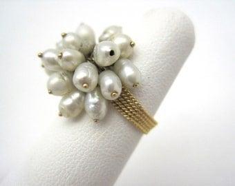 Vintage Pearl Cluster Ring - 18k Gold