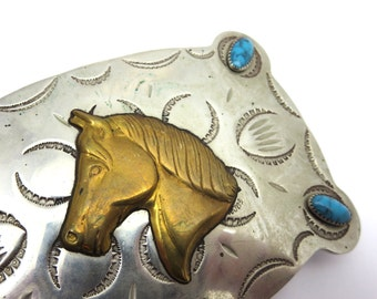 Silver Horse Buckle - Nickel Silver Faux Turquoise Brass Equestrian Western Belt Frontier Buckle