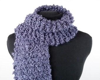 Hand Knit Vegan Scarf - Thick Warm Scarf in Grape Hyacinth Bouclé Acrylic Yarn - Item 1365