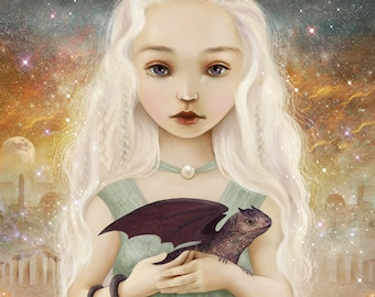 Mother of Dragons print | 8X8 dragon art, baby dragons poster, fantasy landscape, dragon princess, baby art nursery - by Meluseena