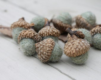 Wool Felted Acorns Sage Green Country Rustic Home Decor Neutral Eco Friendly