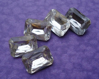 6 Vintage 14x10mm Clear Gold Foiled Pointed Back Octagon Faceted Glass Stones or Jewels