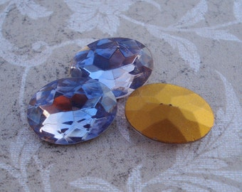 Vintage 18x13mm Light Sapphire & Rose Gold Foiled Pointed Back Faceted Oval Glass Jewels or Cabs (2 pieces)